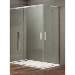 Basic cabine douche acces d'angle porte coulissante 90x100cm alu+transparent
